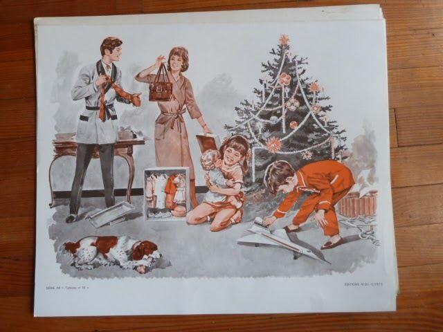 le concorde avion sapin noel cadeau Ancienne Affiche scolaire MDI lecture 1960