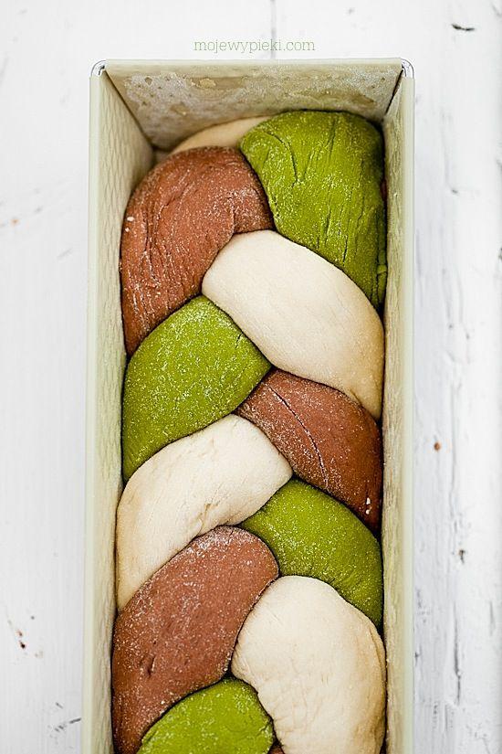 Brioche tressée challah tricolore au thé matcha et cacao - Three colors /cocoa & matcha tea challah