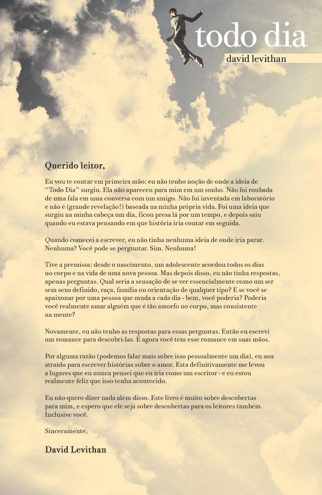 Carta de David Levithan para seus leitores.