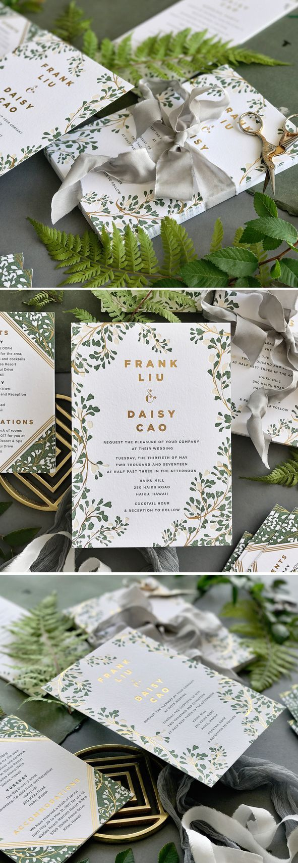 not on the high street winter wedding invitations%0A Proving that florals don u    t have to be frou frou  the perfect  customizable  garden wedding invitation from hello tenfold in letterpress and gold foil