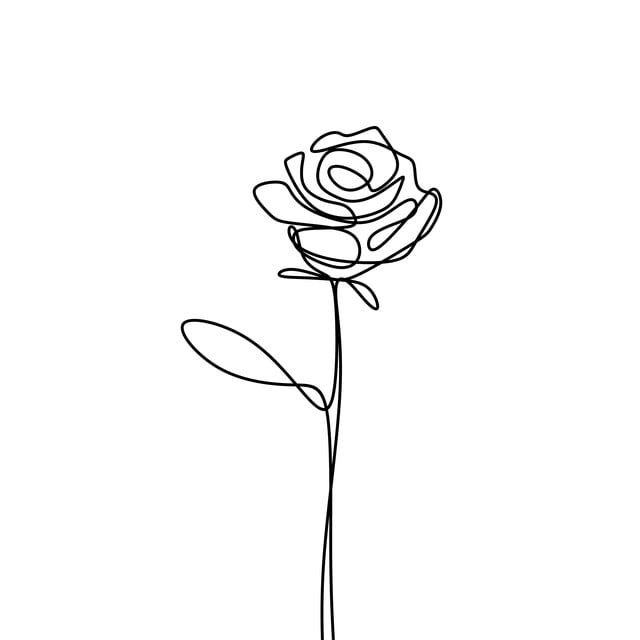 Continuous Line Drawing Of Rose Flower Minimalism Design Isolated On White Background Drawing Vector Art Png And Vector With Transparent Background For Free In 2020 Continuous Line Drawing Flower Line