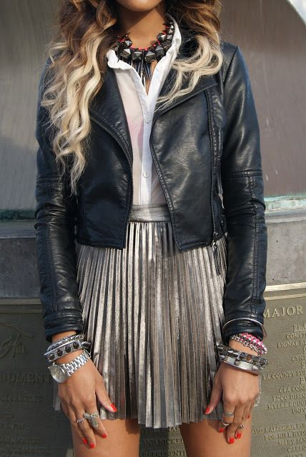 Really like this look. Taken from here blog post----> 2b by Bebe faux leather jacket, vintage sheer button up, Forever21 skirt, Wasteland spike bangle, H pink and silver bracelet, Forever21 handcuff bangles, Nasty Gal knuckle ring, DIY necklace I made out of 3 necklaces, vintage DIOR saddle bag and bag chain, Tobi rings, vintage watch, gun ring