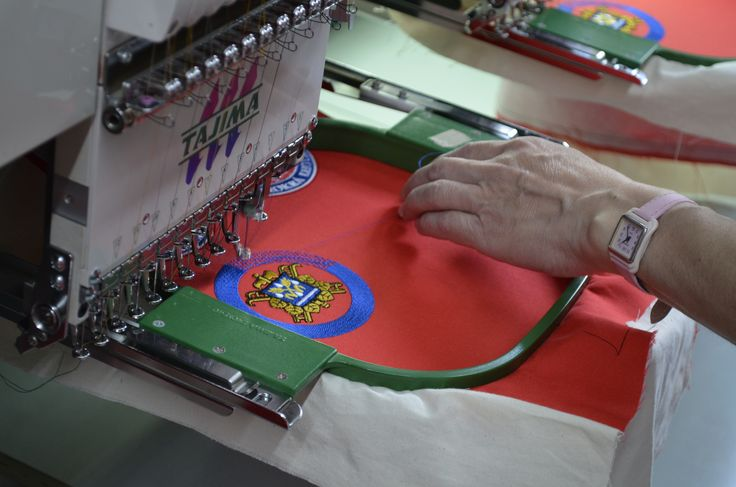 Work on an embroidery.