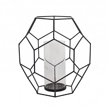 Kelly Hoppen Julin Hexicon Lantern Candle Holder: From British interior designer Kelly Hoppen, this Julin Hexicon lantern with geometric style iron and glass candle holder looks lovely when filled with a lit candle. It's creative design allows light to burst through the various shapes that make up its unique design. Perfect for tables, fireplace hearths or outdoor entertaining.