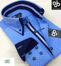 New Mens Formal Smart Light Blue Italian Design Double Collar Slim Fit Shirt