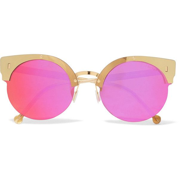 Retrosuperfuture Era round-frame acetate and gold-tone mirrored... ($245) ❤ liked on Polyvore featuring accessories, eyewear, sunglasses, pink, uv protection glasses, round acetate sunglasses, acetate sunglasses, round frame sunglasses and pink mirror sunglasses