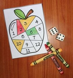 Apple activities: Simple roll & color, then roll, add & color apple-themed dice games.