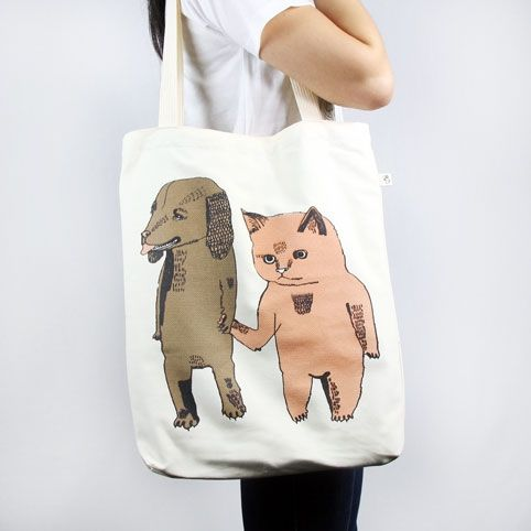 Dog and Cat Monsterthreads Tote Bag - hardtofind.