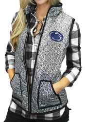 Gameday Couture Penn State Womens Grey Herringbone Quilted Vest Vest