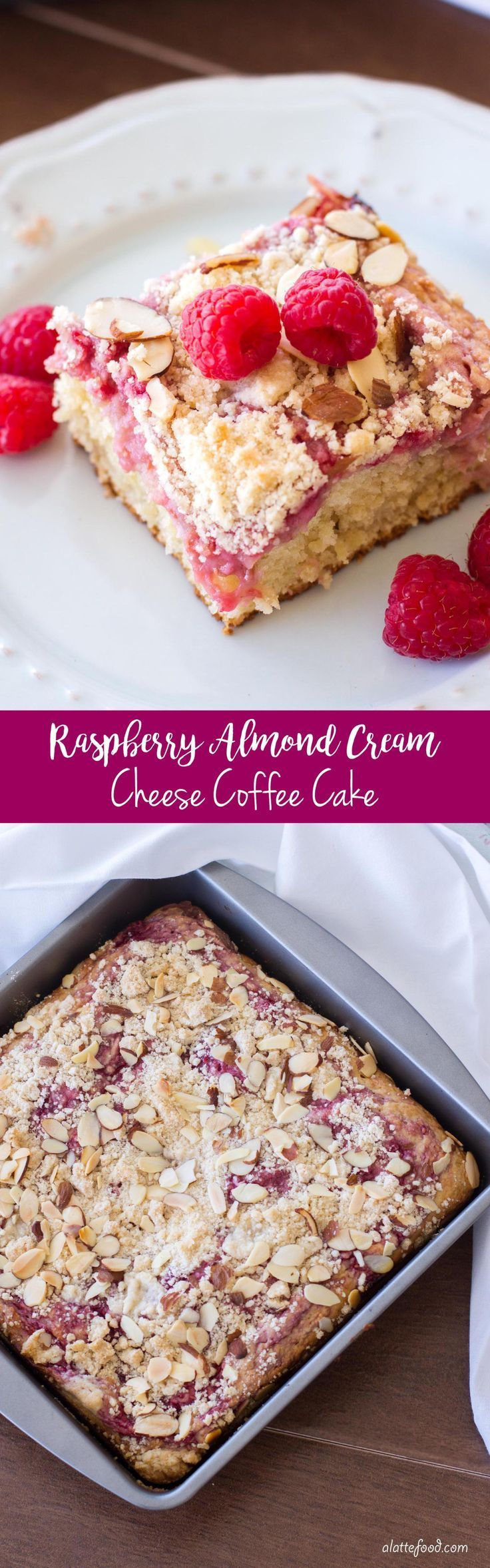 This easy raspberry coffee cake recipe is swirled with raspberries and cream cheese, has a sweet crumb topping, and is sprinkled with sliced almonds!
