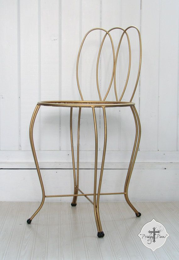 Vintage Gold Wire Vanity Chair Seat ~ Stunning Retro Style ~ 2 ...