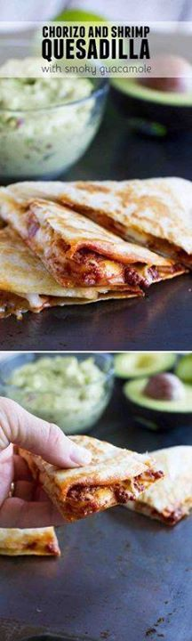 Get out of your ques Get out of your quesadilla rut with these...  Get out of your ques Get out of your quesadilla rut with these Chorizo and Shrimp Quesadillas with Smoky Guacamole. There is so much flavor and the guacamole takes it over the top! Recipe : http://ift.tt/1hGiZgA And @ItsNutella  http://ift.tt/2v8iUYW