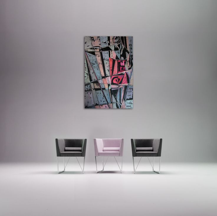 Simple and elegant interior and art - grey and pink comfortable and modern armchairs. Wnętrze i obraz, creative & unique, obraz na szarej ścianie, szare i różowe eleganckie i nowoczesne fotele. Contemporary painting of a fitness woman - 'Supergirl 4' @anialuk_art