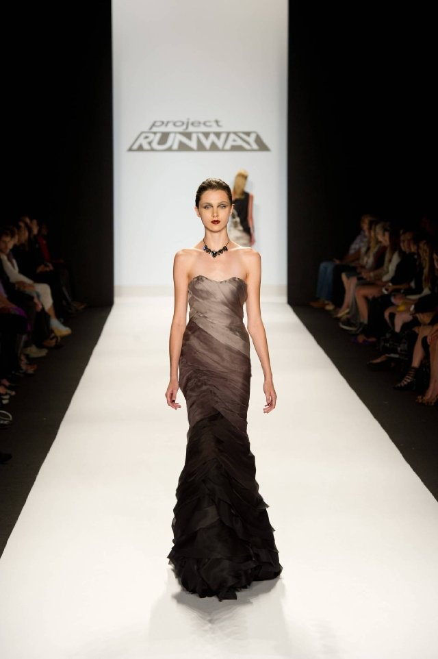 Project Runway... would love it in white fading to fuchsia.