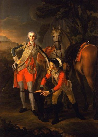 Portrait of Charles Grant, Vicomte de Vaux, in uniform as a Lieutenant Colonel of the Garde du Roi, attended by his groom with their horses, painted in 1781-1782 by Louis-Roland Trinquesse
