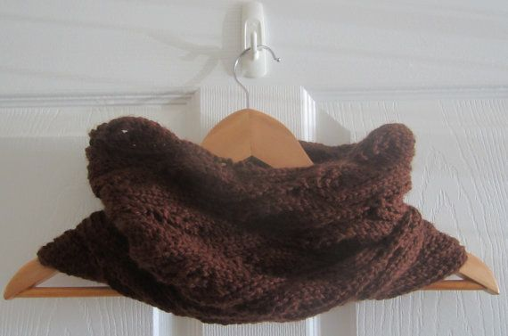Eco Friendly Cowl  Chocolate Brown Cowl  Knit by www.itsCOWLdoutside.etsy.com  #knit  #handknit  #handmade