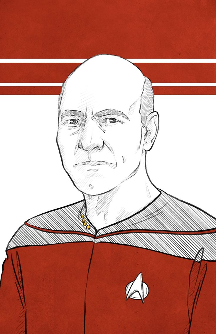 """Captain Jean Luc Picard - Sir Patrick Stewart - Original Art Poster Print. The Next Generation Captain Picard - one of my ongoing Star Trek portrait series 11x17"""" heavy art stock paper The print is not full bleed - there is a thin white border around the outside of the image. This is in case of matting/framing, the image will not be cropped. *All prints are shipped rolled in a tube. If you would prefer a different shipping method, please contact me and I'll do what I can to work with you...."""