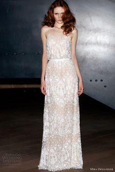 mira zwillinger 2014 bridal sophia wedding dress spaghetti straps bodice