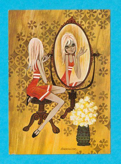 Retro postcard vintage 70's. Fashionable girl by bluumievintage