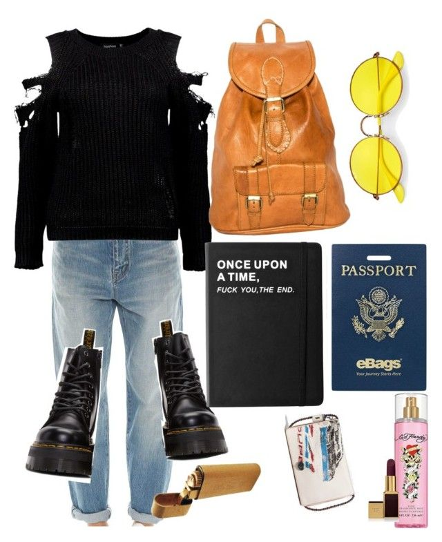 """""""distress"""" by edie-malcolm3 on Polyvore featuring Yves Saint Laurent, Boohoo, Dr. Martens, eBags, Ray-Ban, Killstar, Ed Hardy, Tom Ford and Coach"""