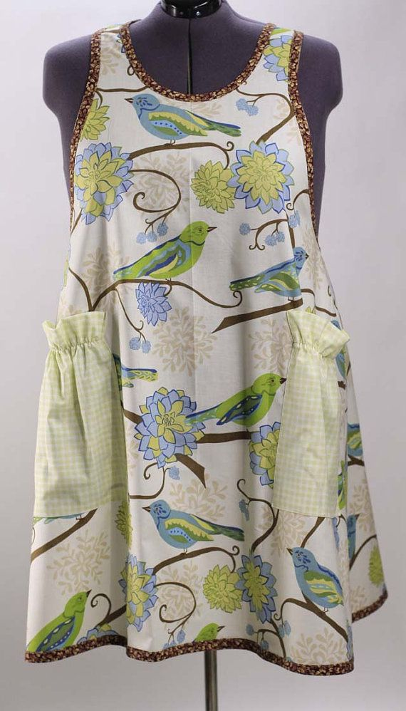Plus Size Apron In Bluebirds Note Bluebirds And Retro Apron