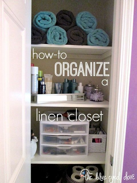 How To Organize a Linen Closet - Easy ways to add some organization back into your Linen Closet! theblueeyeddove.com