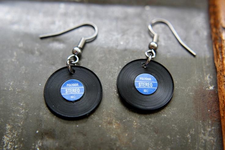 Vinyl Record Earrings by AsgardDesigns on Etsy