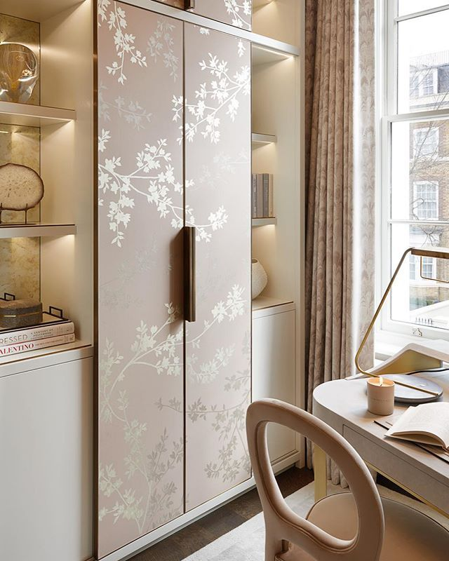 The Feminine Study At Our Recent Kensington Project Sliding Cupboard Doors With Bespoke Hand Pa Cupboard Design Wardrobe Design Bedroom Interior Design London