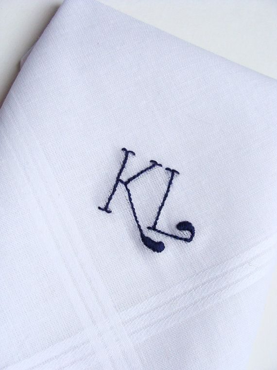 Monogrammed Handkerchief. Personalized Gift with Initials. Mens Handkerchief. Hand Embroidery