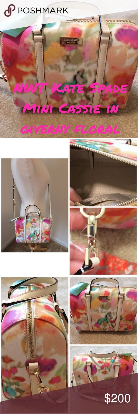 🆕 NWT Kate Spade mini Cassie Giverny floral NWT authentic Kate Spade mini Cassie in giverny floral..about 9 in in width, about 7 in height, about 5 in depth...there is a very small pinpoint mark on the lower front that is pictured above and not very noticeable..has a detachable strap that an make this a crossbody and is about 46 in or you can use the carry straps which are about 4 in tall.  NO DUST BAG. kate spade Bags