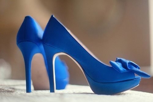 Just need this pair of blue satin heels