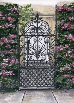 I love all the gates and gardens in Charleston....you will see a recurring theme of harps and lyres in the scrollwork....beautiful!