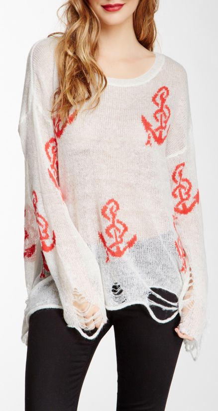 Distressed Anchor Sweater♥