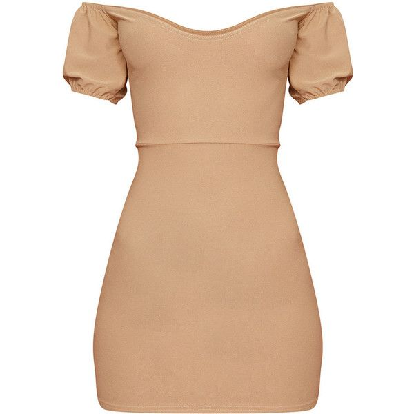 Camel Crepe Bardot Puff Sleeve Bodycon Dress ($8) ❤ liked on Polyvore featuring dresses, puff sleeve dress, beige dress, crepe fabric dress, body con dress and puff shoulder dress