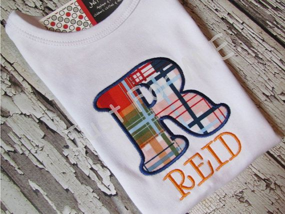 Personalized Baby Boy Fall Applique Initial Name by JustForMEToo