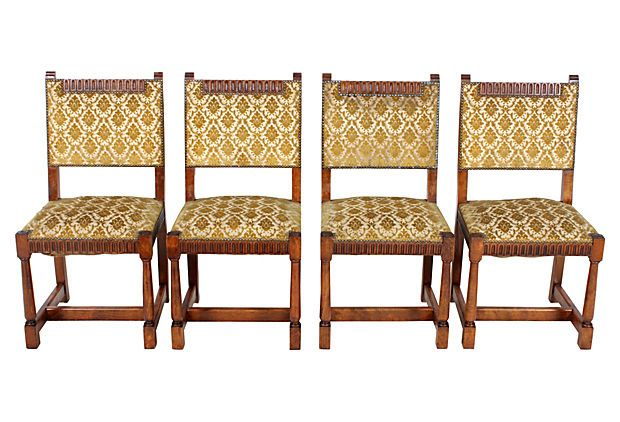 French Oak Dining Chairs, Set of 4