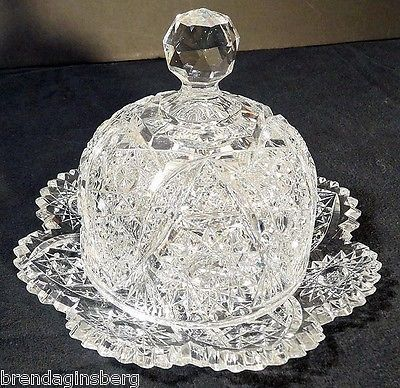 Antique American Brilliant Cut Glass Butter Plate & Dome Butter Dish (#5255)