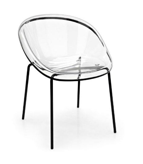 this unique kitchen chair by bloom features a transparent polycarbon seat and either chromed or painted metal legs