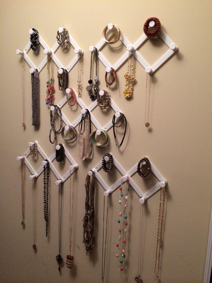 Accordian hooks from Dollar Tree. Jewelry organizer.