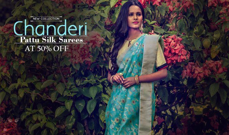 Arrived! #ChanderiPattuSilkSarees at 50% LESS!