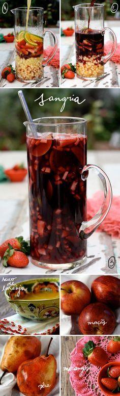 INGREDIENTES 1 garrafa de vinho tinto seco (750ml). Deve ser um vinho de boa qualidade, mas não precisa ser tão especial quanto um reserva. Evitar vinhos muito tânicos ou amadeirados demais (Malbec, por exemplo). Eu usei um Cabernet chileno, já fizemos com Merlot, tintos espanhóis, portugueses. 300 ml de suco de laranja – se quiser que fique uma bebida frisante, substiuir parte do suco de laranja por club soda, ou água com gás.