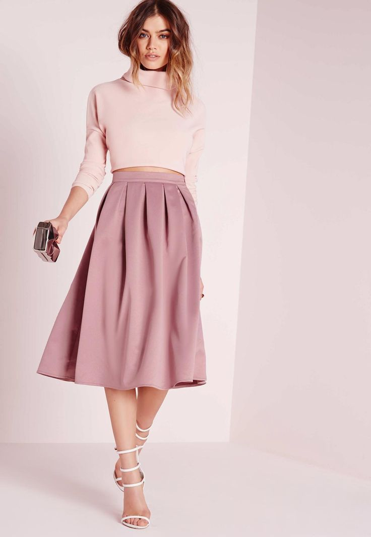 Missguided - Satin Pleat Waistband Full Midi Skirt Mauve