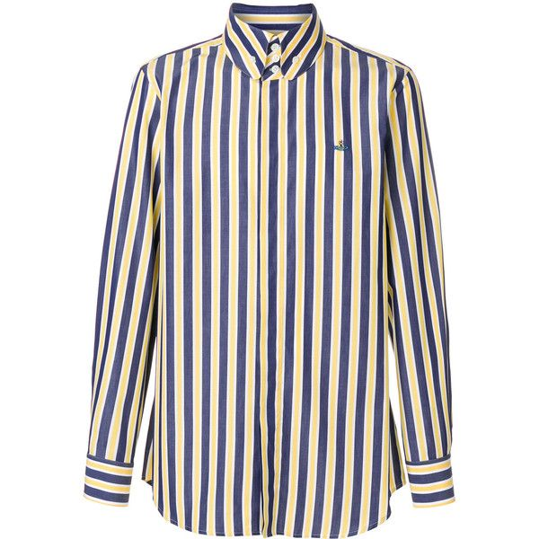 Vivienne Westwood striped shirt (4.880 ARS) ❤ liked on Polyvore featuring men's fashion, men's clothing, men's shirts, men's casual shirts, blue, mens striped shirt, mens cotton shirts, mens blue striped shirt and vivienne westwood mens shirts