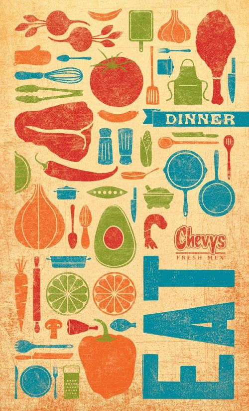 Art of the Menu: Chevy's Great colorful application to Tex-Mex iconography styled menu set.