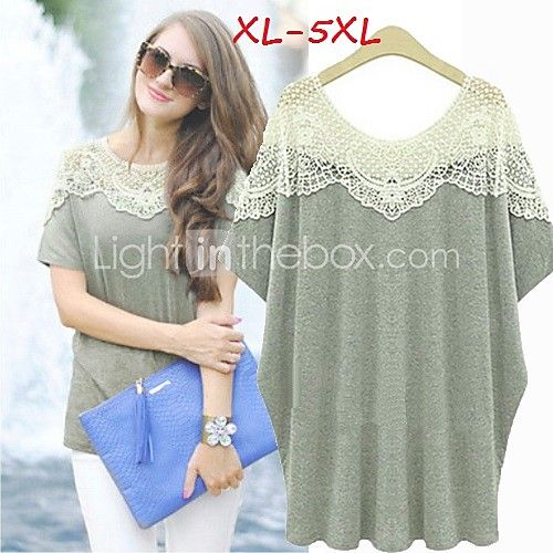 Women's Lace Plus Size Tops & Blouses , Casual/Lace Round Short Sleeve - USD $13.99