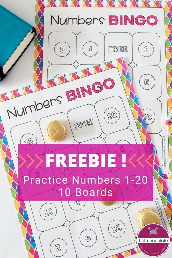 Free! Bingo Game Numbers 1-20 Los números Pinterest