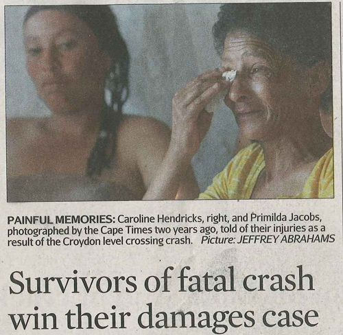 "Train Accident Claims in South Africa - ""Survivors of Fatal Crash Win Their Damages Case ""http://www.lyonsbriviklaw.com/cases_survivorsfatalcrash.html"