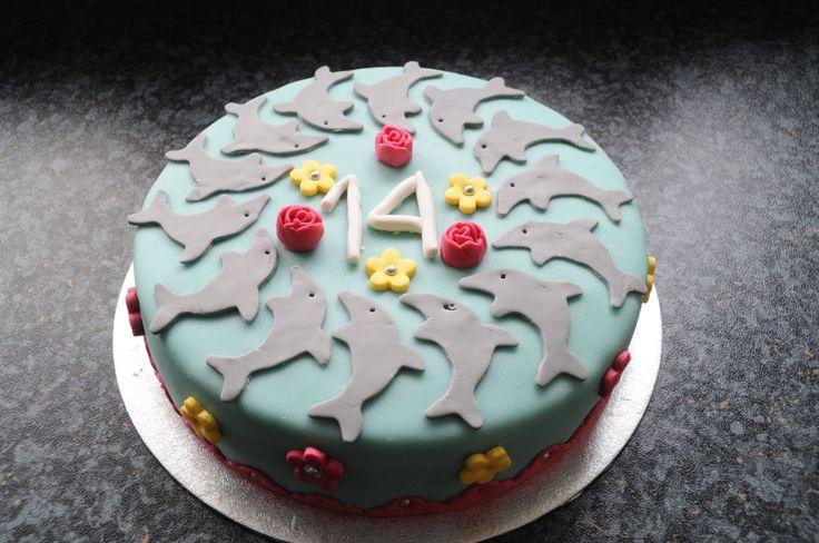Dolfijnentaart Voor Anouk haar 14e verjaardag.