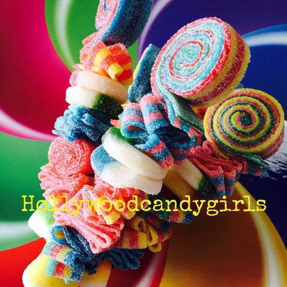 12 SWEET Rainbow Party Favors Candy Kabob-Kebab, Skewers Sticks, Lollipops, Candy Centerpiece ,Birthday, Wedding, Mitzvah, Candy Land, Wonka