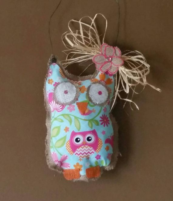 Mommy and me burlap owl wall hanging.